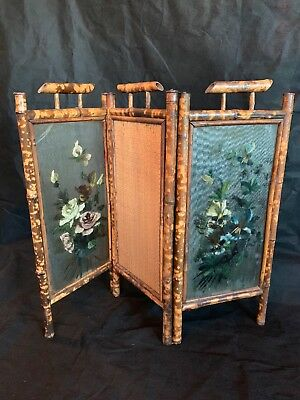 Rare Antique Bamboo Hand Painted Mirrored Glass Screen