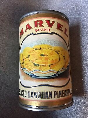 Vintage 1930's Marvel Brand Sliced Hawaiian Pineapple Paper Label On Dummy Can