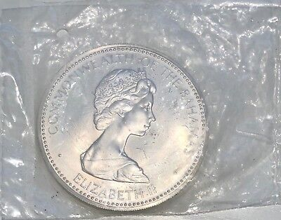 1973 50 mm $10 Dollars Bahamas MS Sterling Silver Coin