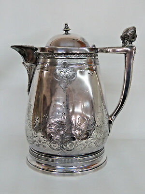 Meriden B Company Victorian Insulated Pitcher Jug With Lady Face  9281