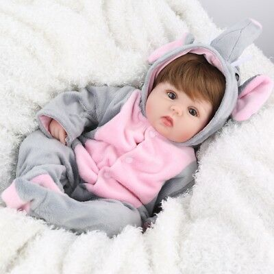 16'' Reborn Doll Newborn Vinyl Silicone Baby Dolls+Clothes Girl Gifts Realistic