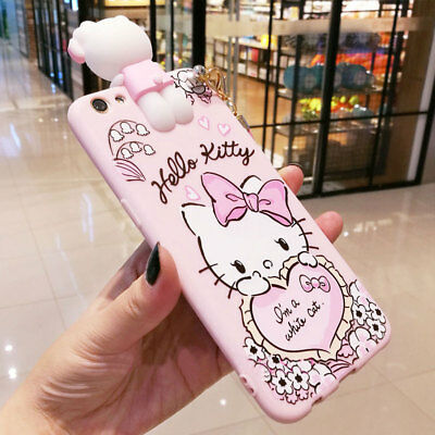 3D Cute Hello Kitty Strap Tassel Pendant Soft Case Cover for iPhone X 6 7 8 Plus