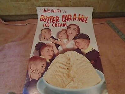 Vintage 1950's BUTTER CAR-A-MEL Ice Cream POSTER Display ~ CUB SCOUTS SMILING
