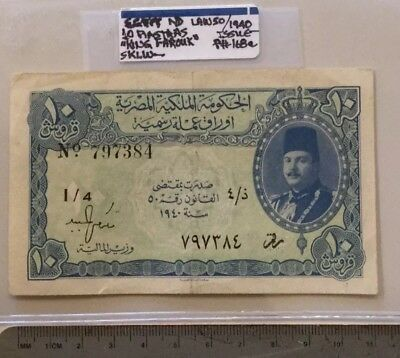 "Egypt 10 Piastras 1940 Issue P#168a ""King Farouk"" Higher Grade!"