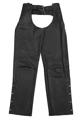 Black Brand Ladies Hotness Classic Black Leather Motorcycle Riding Touring Chaps