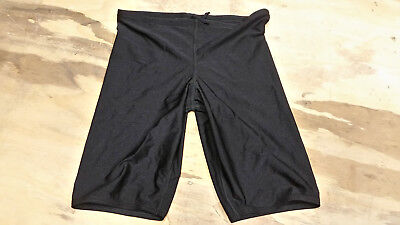 "Boys 24"" Hind Swim Shorts Black Jammer Tight Lycra Spandex Made in USA Mens Kids"