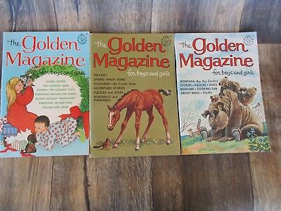 The Golden Magazine for Boys and Girls 1964 1965 1966 LOT OF 3 JOKES PUZZLES