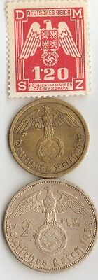 -10 -*WW2 - Zink, Steel,  Brass,  Silver, - *us  and *german   coins/STAMPS +