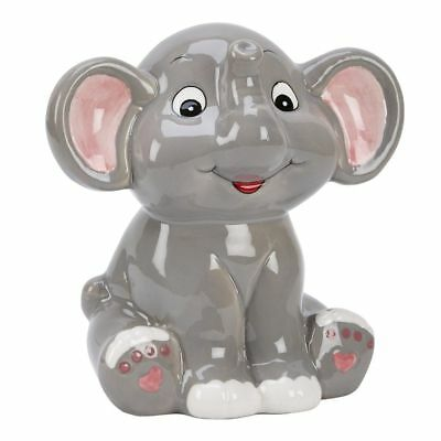 "Grey Elephant Bank 5.5"" x 5.5"" Ceramic Safe"