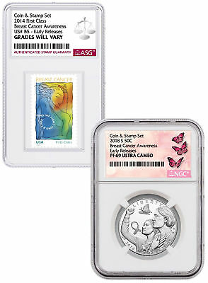 2018-S Breast Cancer Awareness Clad Half Dollar & Stamp NGC PF69 UC ER SKU55422