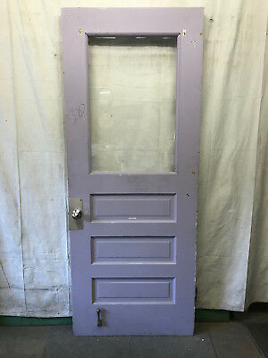 Wood Door with 1 Pane of Plexi Glass Architectural Salvage 36x89