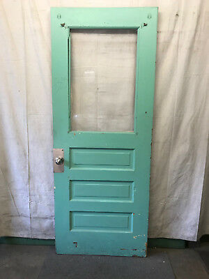 Wood Door with 1 Pane of Plexi Glass Architectural Salvage 35-3/4x89-1/2