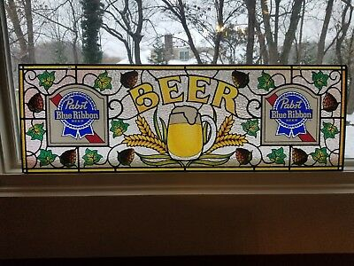 "Vintage Pabst Blue Ribbon Beer Sign Faux Stained Glass PBR 12"" x 36"" Collectible"
