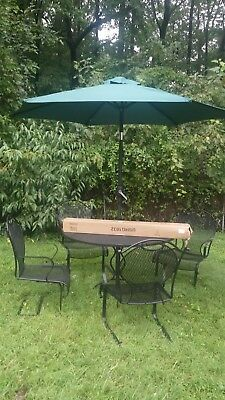 Woodard MCM Wrought Iron Patio Set, Dining Table and 4 Sculptured Chairs, More