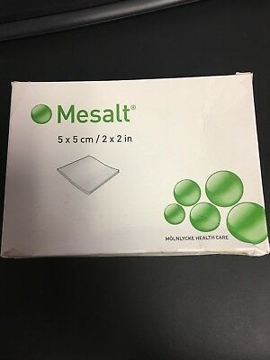 NEW! Mesalt Sodium Chloride Wound Dressing 30 Count 5x5 cm 2x2 in