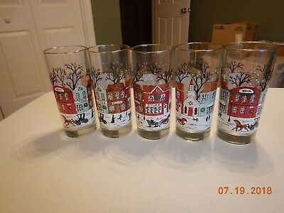 Vintage Winter Scene Libbey Drinking Glasses, Perfect, Gold Rimmed, 5 Pieces