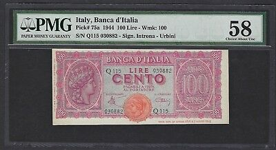 Italy 1944 P-75a PMG Choice About UNC 58 100 Lire