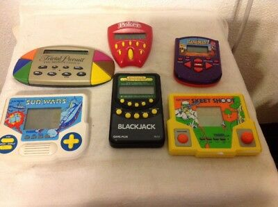 6 Vintage Hand Held Games--All Work Well