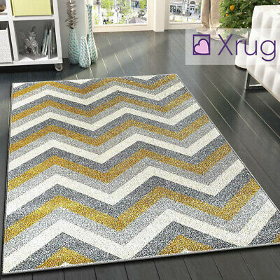 Grey and Mustard Rug Zig Zag Chevron Ochre Yellow Carpet Floor Mats Small Large