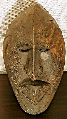 Vintage AFRICAN Old WITCH DOCTOR Slant Eyes CARVED Wood TRIBAL ART MASK Statue