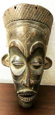 Vintage AFRICAN Old CARVED Wood TRIBAL TATTOO Slant Eye ART Museum MASK Statue