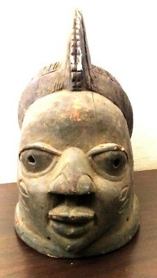 Antique AFRICAN MOHAWK MAN Full HEAD MASK Old CARVED Wood TRIBAL ART Statue