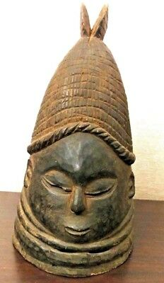 Antique AFRICAN Old CARVED Wood FULL HEAD MASK TRIBAL ART Sculpture STATUE