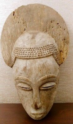 Vintage AFRICAN Old SLANT EYE LADY Sculpture CARVED Wood TRIBAL ART MASK Statue