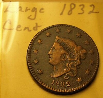 1832 Coronet Large Cent US Copper Type Coin 13 Stars, HIGH GRADE