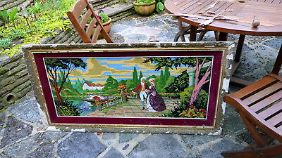 Extra large wool tapestry needlepoint completed piece of art