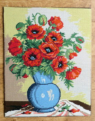 Wool tapestry completed picture of flowers
