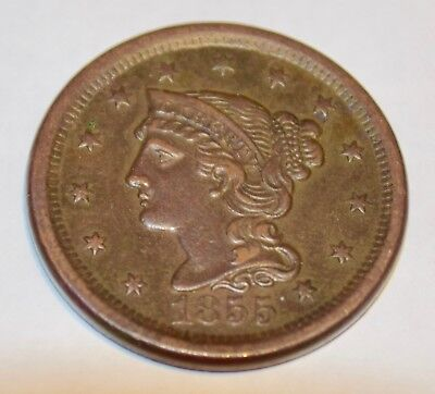 1855 Braided Hair Large Cent, Upright 55