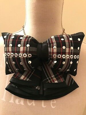 Grosso fiocco papillon a quadri borchie handmade big checks bow tie studs