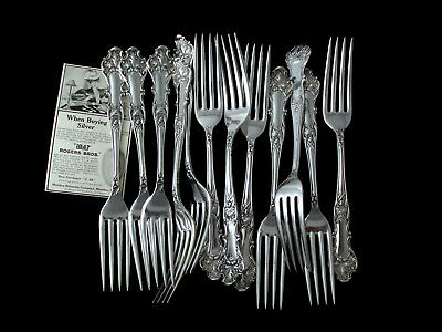 "1847 ROGERS BROS CHARTER OAK c.1906 FLAT HDL DINNER FORK 7 ½""- SOLD BY PC"