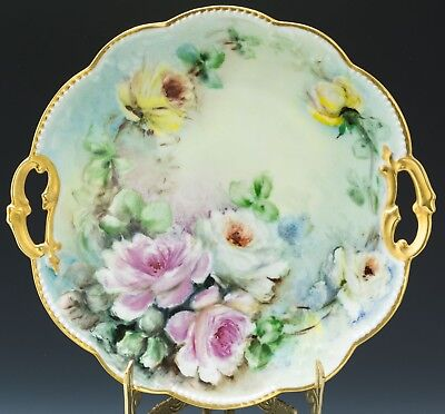Antiques Limoges Hand Painted Roses Cake Plate