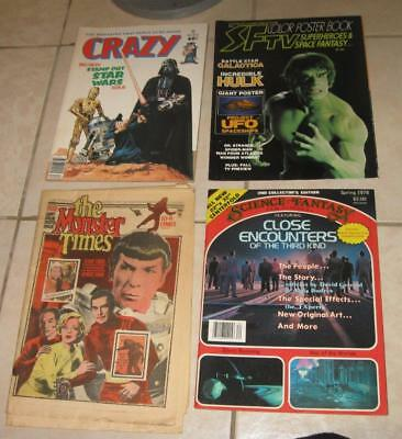 70s SCIENCE SF MONSTER MAG LOT TV POSTER BOOK MONSTER TIMES CRAZY STAR WARS 32
