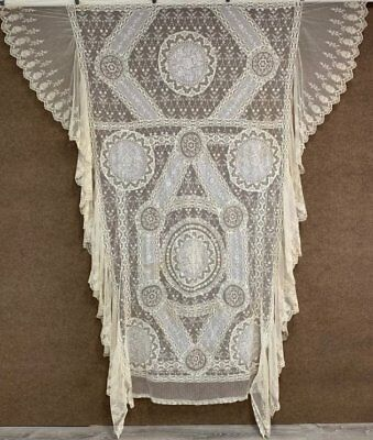 Antique French Normandy Tambour NET Lace BEDSPREAD Coverlet #1