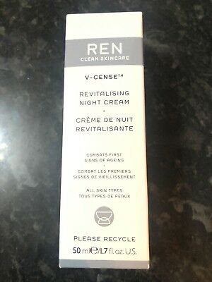REN Clean Skincare V-Cense Revitalising Night Cream 50ml BNIB Rrp £29