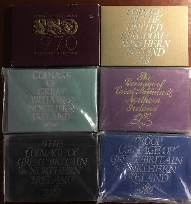 Lot of 6 - 1970 - 1982 Coinage of Great Britain and Northern Ireland Proof Coins