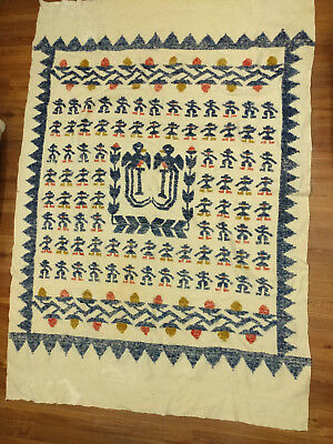 Vintage Hand Woven Guatemalan Folk Art Throw Blanket Cream Red Blue Mustard