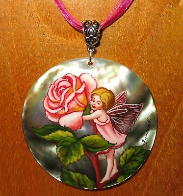 SHELL pendant Genuine Russian hand painted The ROSE FLOWER FAIRY Beautiful GIRL