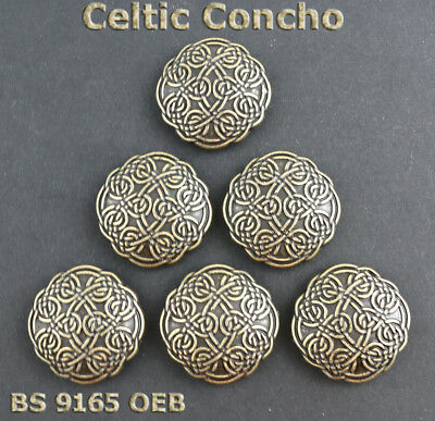 Lot Of 6 Bs 9165 Saddle Oeb Old English Brass Celtic Conchos 1-1/8 Inches Wide