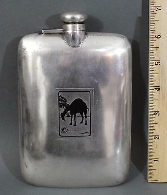 Antique Art Deco R. Blackinton & Co Sterling Silver Orientalist Camel Hip Flask
