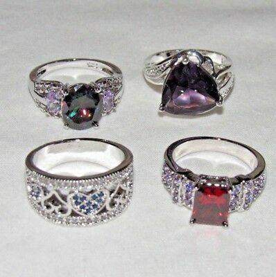 US SELLER WHOLESALE lot of fashion rings 4 pcs crystal cocktail size 7