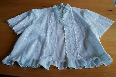 Vintage Retro Embroidered Guipure Cotton Bed Jacket Night Wear Lingerie  Sz M