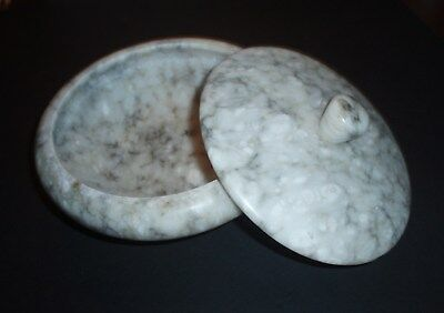 Vintage Speckled Gray Marble Candy Bowl With Lid