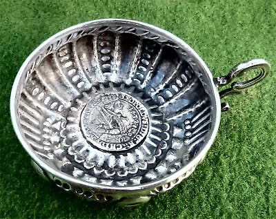 SPANISH SOLID SILVER WINE TASTER CUP WITH c17th SILVER COIN BASE - 2.87 troy oz