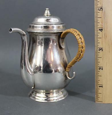Miniature Antique Stieff Sterling Silver Personal Coffeepot w/ Rattan Handle, NR