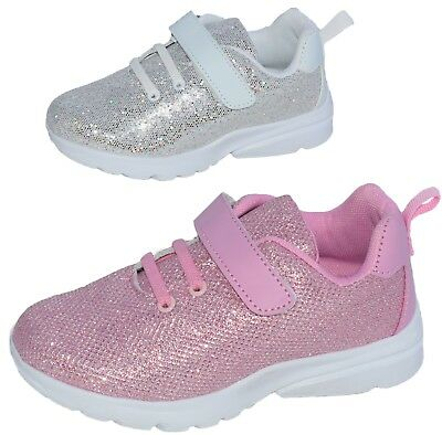Silver Glitter Girls Sneakers Tennis Shoes Toddler Youth Kids Elastic Lace Box