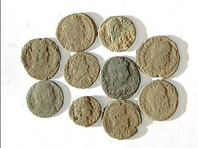 10 ANCIENT ROMAN COINS AE3 - Uncleaned and As Found! - Unique Lot 30038